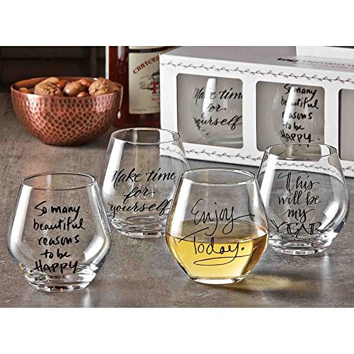 TAG Sentiment Stemless Wine Glass - Set of 4 by (Sentiment Tags)