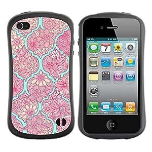 LASTONE PHONE CASE / Suave Silicona Caso Carcasa de Caucho Funda para Apple Iphone 4 / 4S / Retro Old School Teal Pink