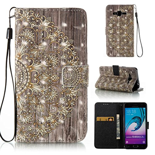 FlREFlSH Galaxy J3/J310 case, Premium PU Leather Wallet Case Flip Protective Cover Simple Protective Lightweight Kickstand Credit Card Holder Case With Cover for Samsung Galaxy J3/J310-Golden Flower