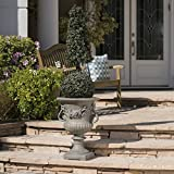 Great Deal Furniture Bunny Vista Outdoor Antique Grey Finish Light Weight Concrete Urn