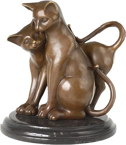 Toperkin Bronze Statues Animal Sculptures Cute Cats Desk Decor Marble Base Artwork