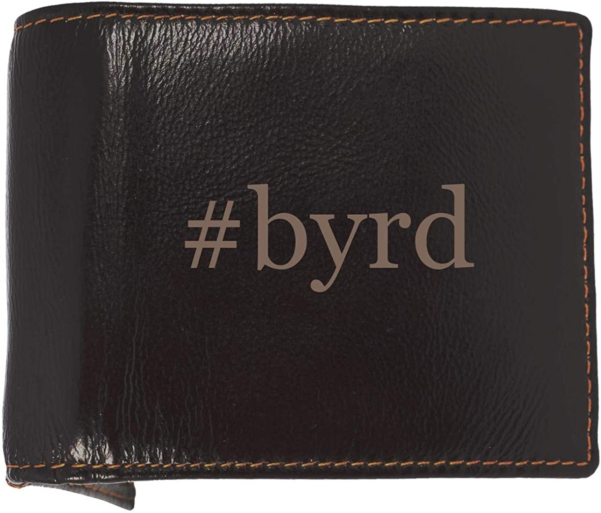 #byrd - Soft Hashtag Cowhide Genuine Engraved Bifold Leather Wallet