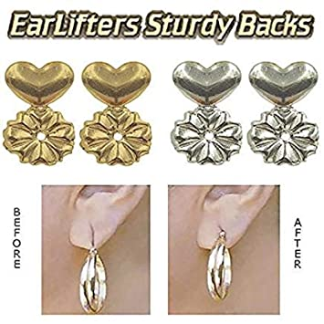 7b4b65afb Amazon.com: Earring Backs Lifters Support - 1 Pair of Adjustable  Hypoallergenic Earring Lifts (Random 1 Pair of Sterling Silver Plated or 1  Pair of 18K Gold ...