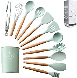 """""""ComCreate"""" Silicone Cooking Kitchen 11PCS Wooden Utensils Tool for Nonstick Cookware,Cooking Utensils Set with Bamboo Wood Handles for Nonstick Cookware,Non Toxic Turner Tongs Spatula Spoon Set"""