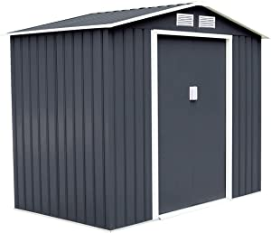 Goplus Outdoor Storage Shed Sliding Door Garden Tool House 9' X 6' (Gray)