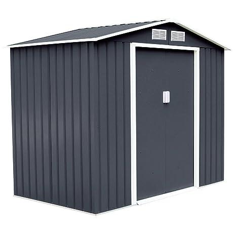 Goplus - Cobertizo de acero para almacenamiento al aire libre, para puerta corredera de casa