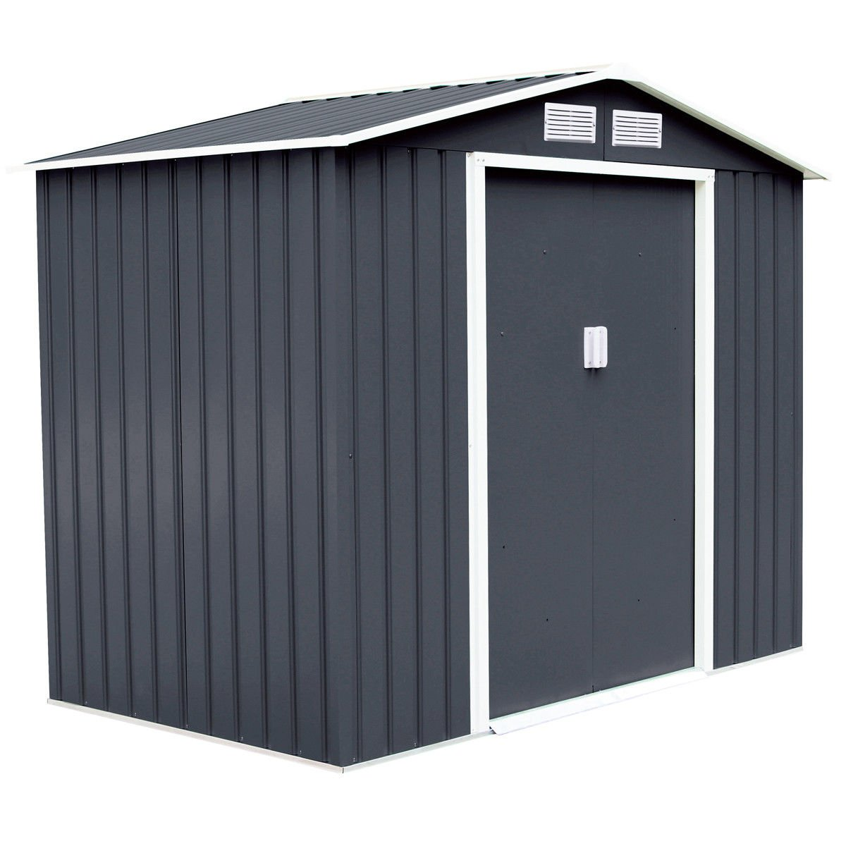 Goplus 7' X 4' Outdoor Storage Shed Tool House Sliding Door Steel Garden Backyard Sheds (Gray)