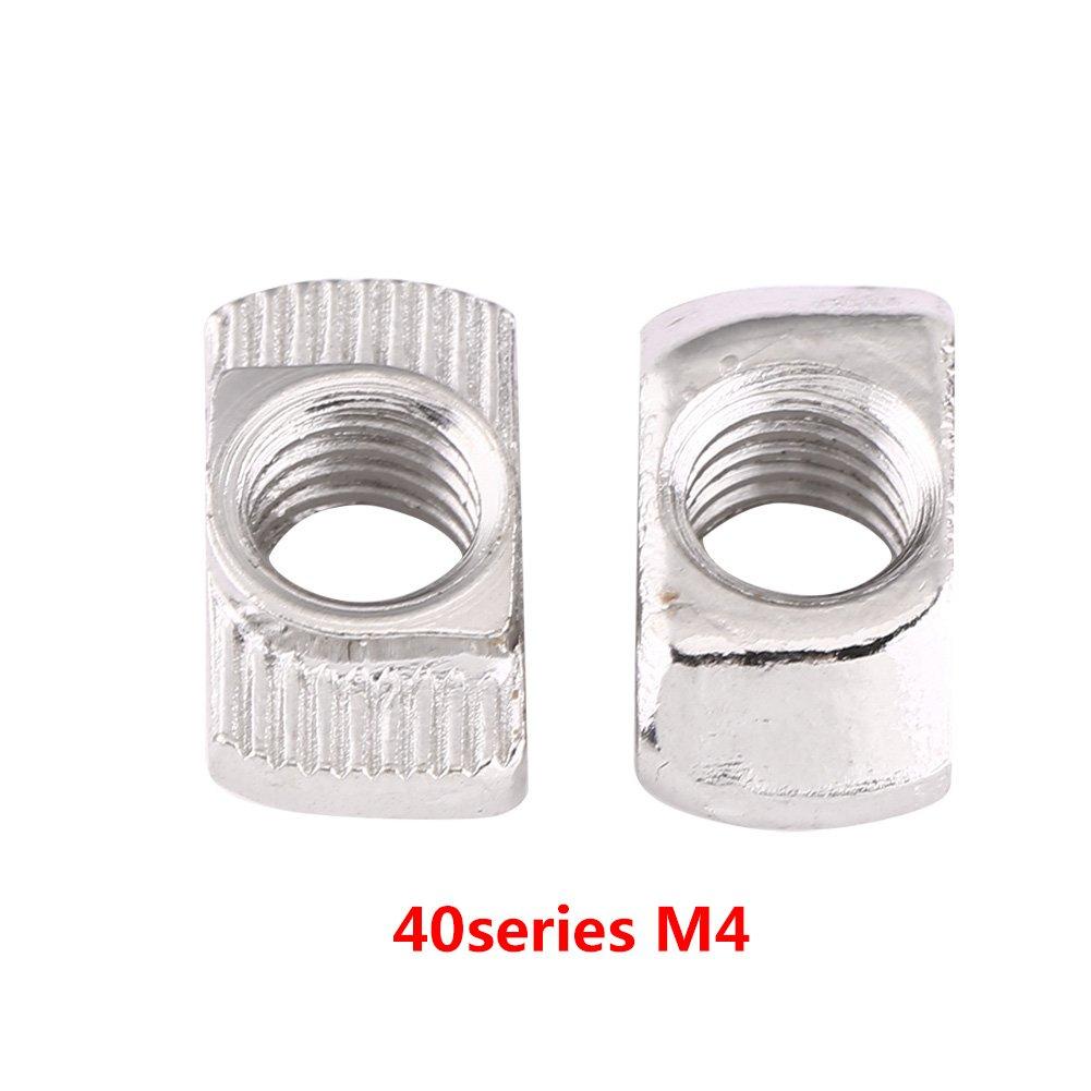 Akozon Rainure en T 50pcs Ecrous en T Coulissant Norme Europ/éenne en Aluminium pour Profil en Aluminium EU 40-M4*19.5 * 8