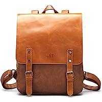 Vegan Leather Backpack Vintage Laptop Bookbag for Women Men,LXY Brown Leather Backpack College School Bookbag Weekend Travel Daypack Brown Brown-1 Fits 14; 13 in Laptop