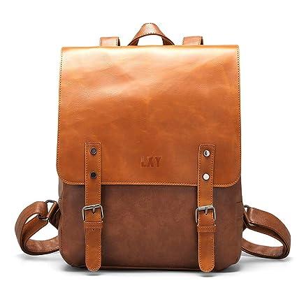 fc172169dff6 LXY Vegan Leather Backpack Vintage Laptop Bookbag for Women Men, Brown Faux  Leather Backpack Purse College School Bookbag Weekend Travel Daypack