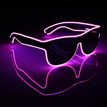 c12d2a242d Amazon.com  Acamifashion Light up El Wire Neon Rave Glasses Glow Flashing LED  Sunglasses Costumes for Halloween