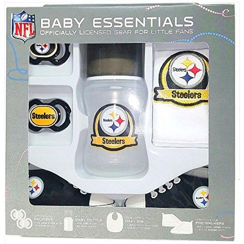 Pittsburgh Steelers Baby Essentials 5 Piece Newborn Infant Baby Shower Gift (Pittsburgh Steelers Baby Bottles)
