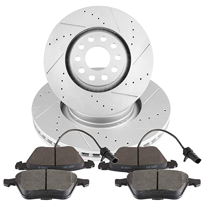 2005 2006 2007 For Audi A4 Front Disc Brake Rotors and Ceramic Pads w//320mm