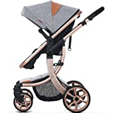 AIMILE Newborn Baby Pram Infant Foldable Anti-shock High View Jogger Stroller Multi-Positon Reclining Seat Stroller Pushchair(Grey)