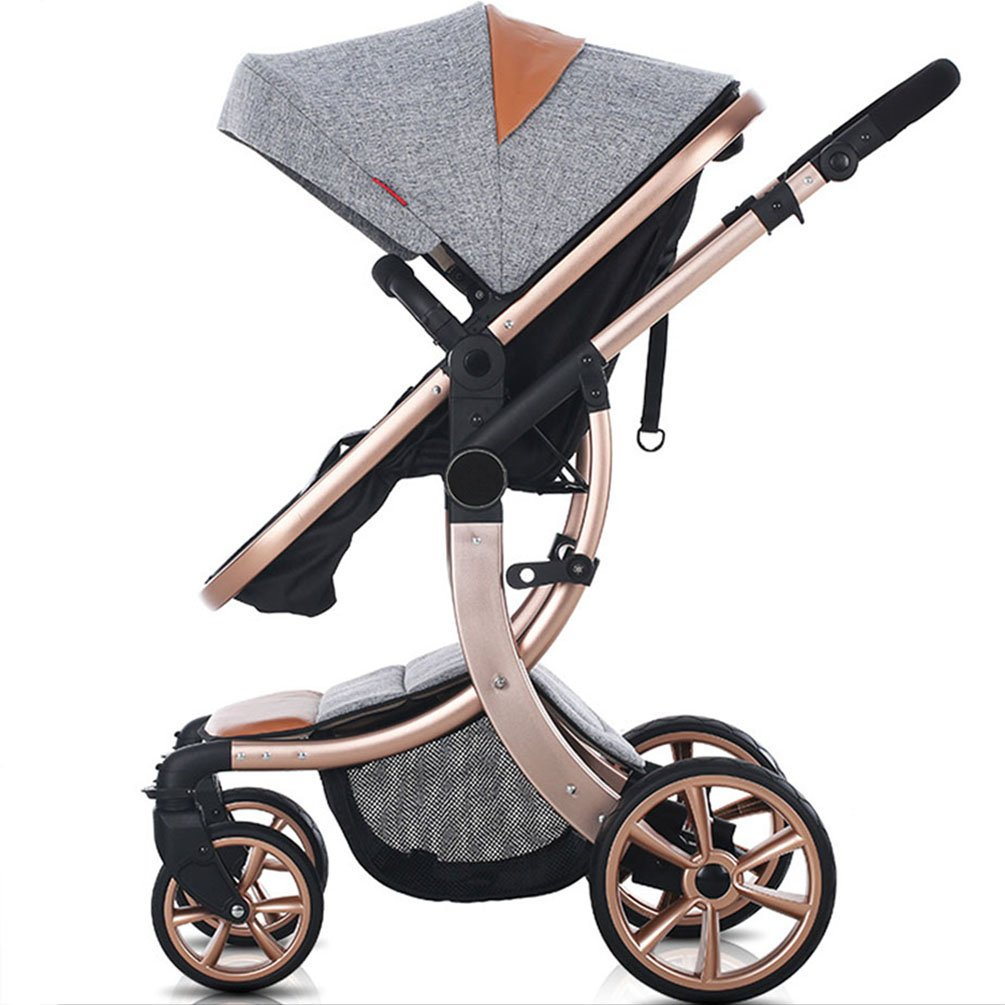 AIMILE Newborn Baby Pram Infant Foldable Anti-shock High View Jogger Stroller Multi-Positon Reclining Seat Stroller Pushchair(Grey) by OLizee (Image #1)