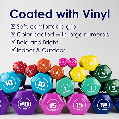 Pair of 10lb Thick Vinyl Coated Body Hex Hand Weights