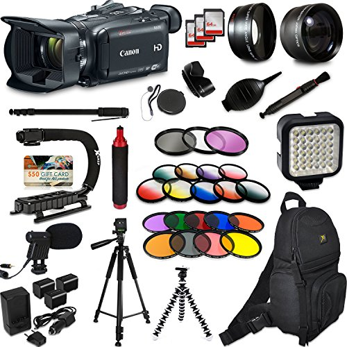 Canon XA30 HD Professional Video Camcorder + Extra Accessories, XGrip and HandGrip handles + Monopod + LED + Mic + Lense by 47th Street Photo