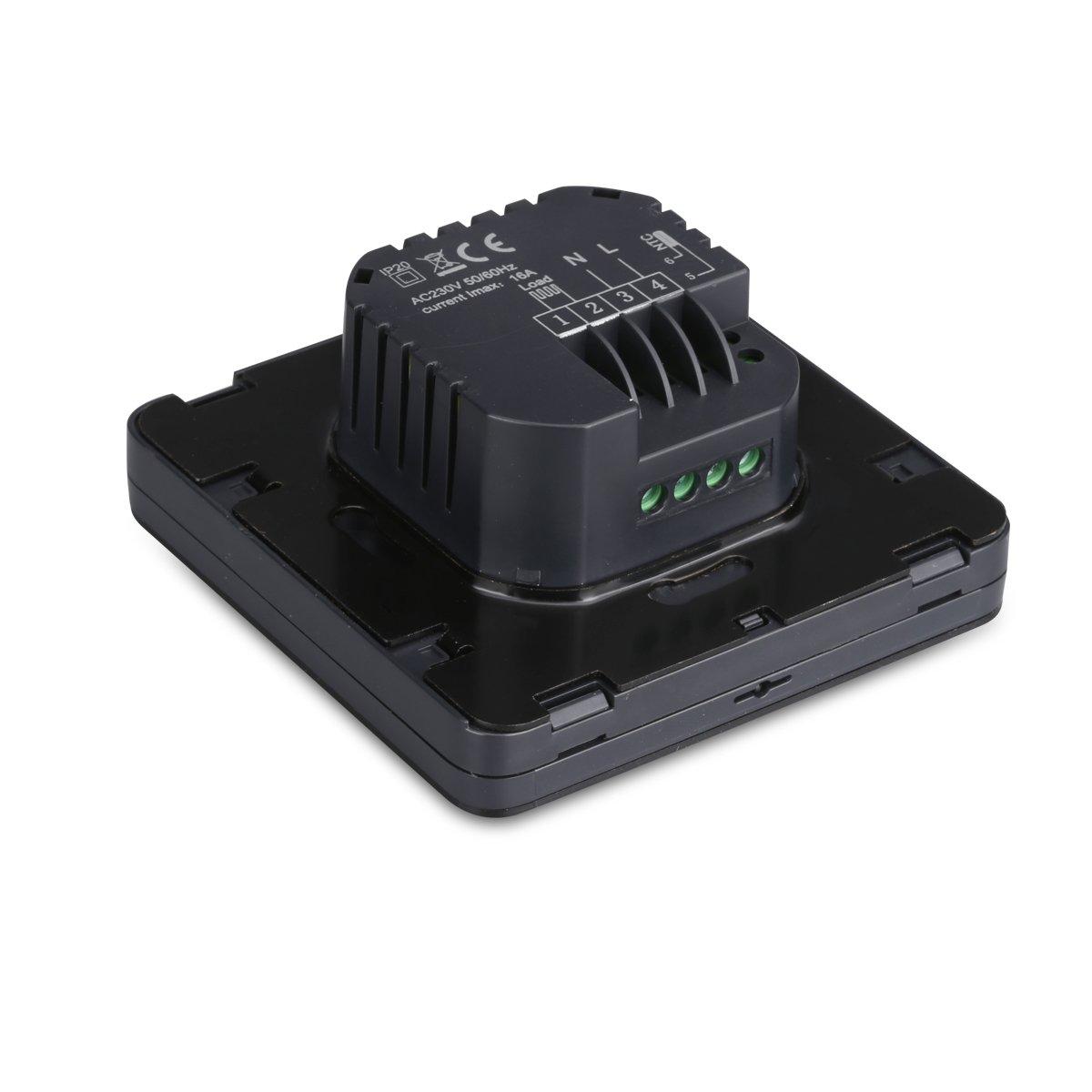 Floureon Digital Raumthermostat Thermostat elektrische Heizung Touchscreen Programmierbare Wandthermostat mit gro/ßen LCD-Display Temperaturregler Fu/ßbodenheizung