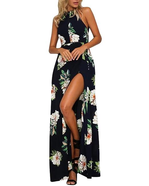 Mujer Cintura Alta Hendidura Vestido De Playa Maxi Irregular Flores Para Boda Fiesta: Amazon.es: Ropa y accesorios