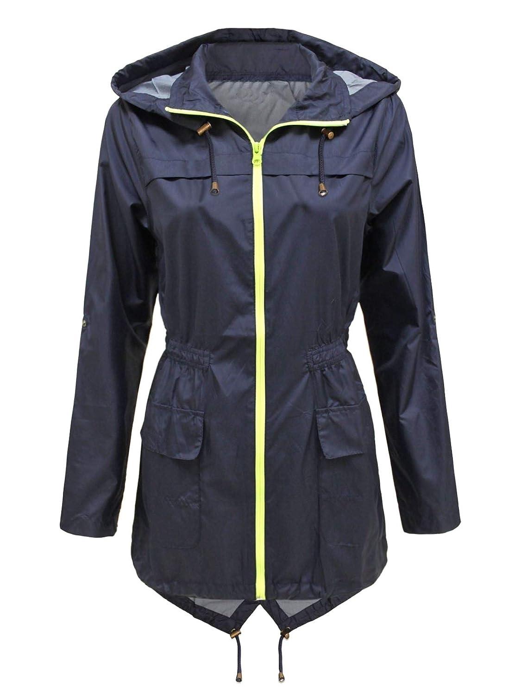 Zimase Womens Hoodie Outdoor Rain Jacket Waterproof Spring/Fall Anorak