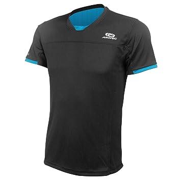 Aropec Camiseta Running Hombre - Camisa Funcional - Negro, M