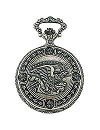Gotham Men's Silver-Tone American Eagle Day-Date Quartz Pocket Watch # GWC14093S
