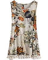 vestidos de mujer Switchali Mujer sin mangas moda floral Fiesta Nocturna Vestido Borla mini vestido de playa Cuello redondo ropa para mujer nuevo 2017
