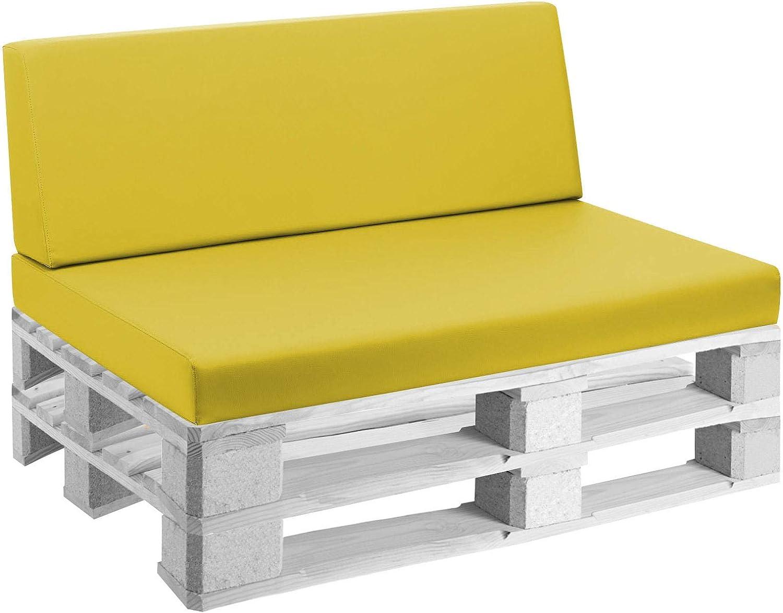 mariotti Cuscini per Pallet 120x80cm Seduta e Schienale in Ecopelle Reforma Giallo