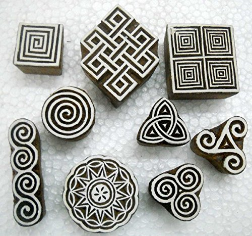 Wholesale Lot of Nine Exotic Wooden Block Stamps/ Tattoo/ Handcarved Indian Textile Printing ()
