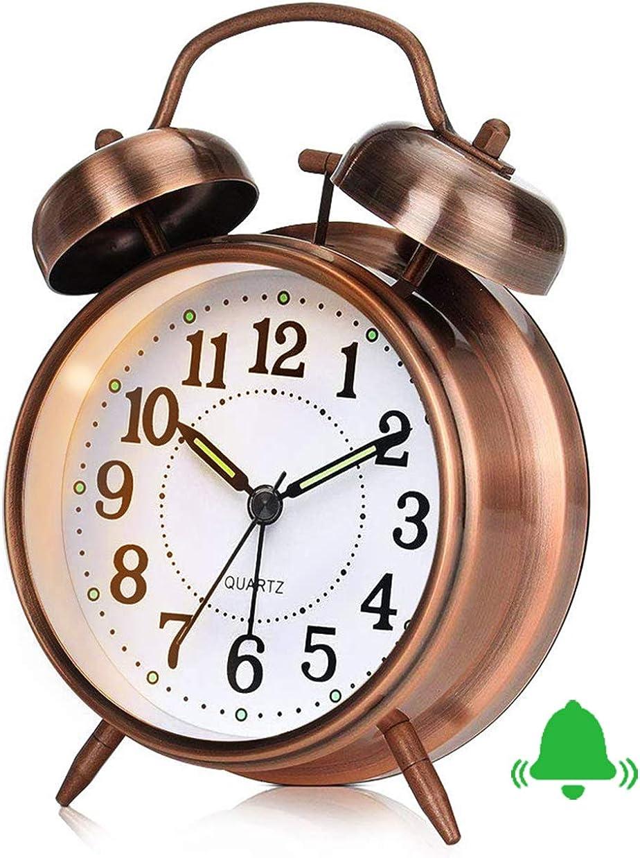 Reloj Despertador Retro, Reloj Despertador Antiguo con Doble Campana Gemela sin Tic TAC, Despertador analógico de Cuarzo silencioso a batería Antiguo con luz de Noche para el Dormitorio marrón
