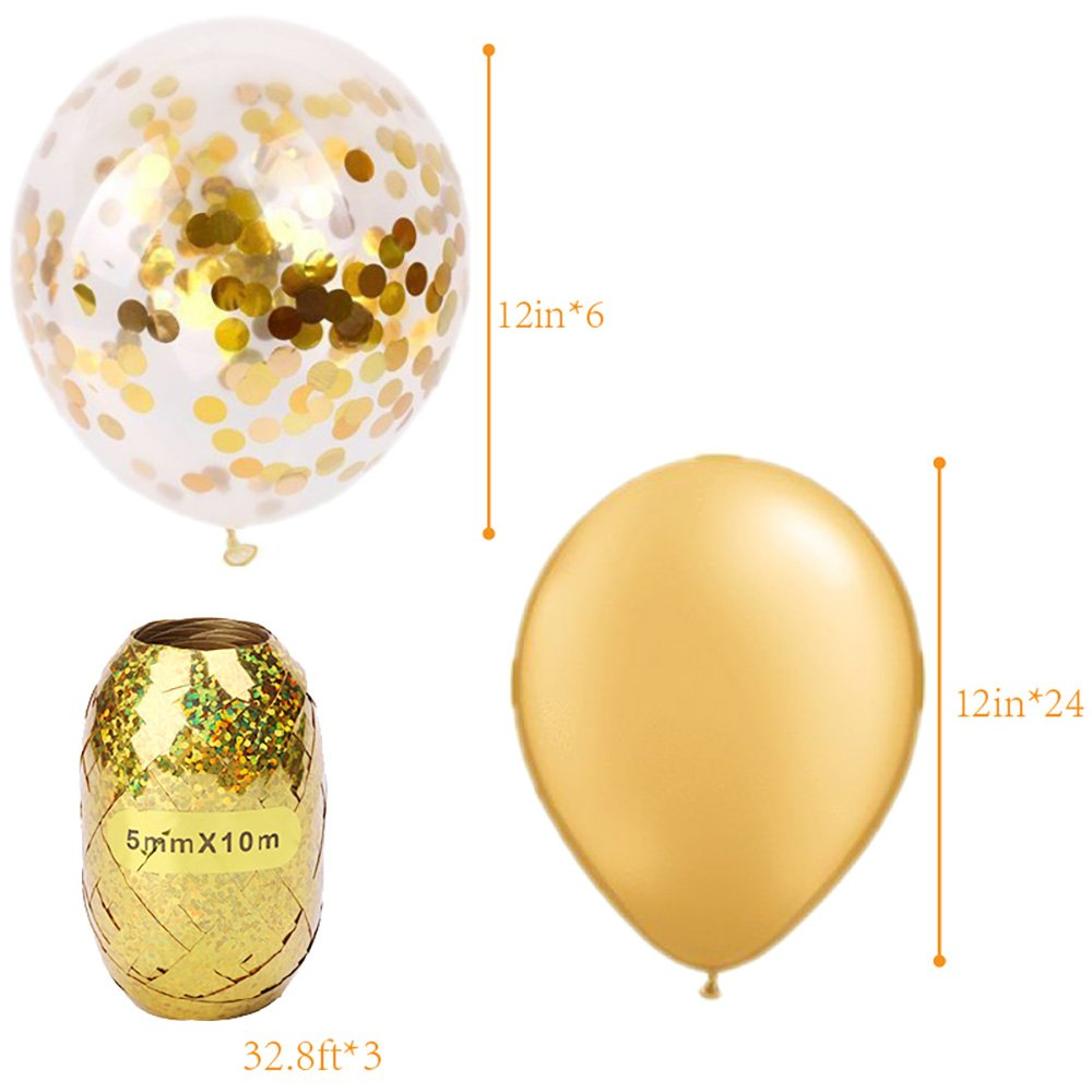 Globos de Fiesta MMTX Set Globos de Lunares de Confeti Dorado de 12 Pulgadas Paquete de 24 Globos de Latex Rellenos para Boda, cumpleaños, Baby Shower, ...