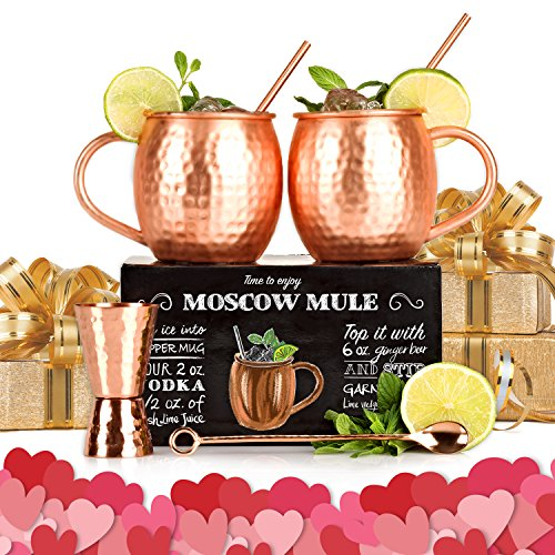 Set of 2 Copper Mugs with Free Extras - Moscow Mules - 100% Solid Copper Hammered Cups 16oz - Unique Extras: Jigger, Stirrer And Straws – Premium Quality – By Shoko Moscow