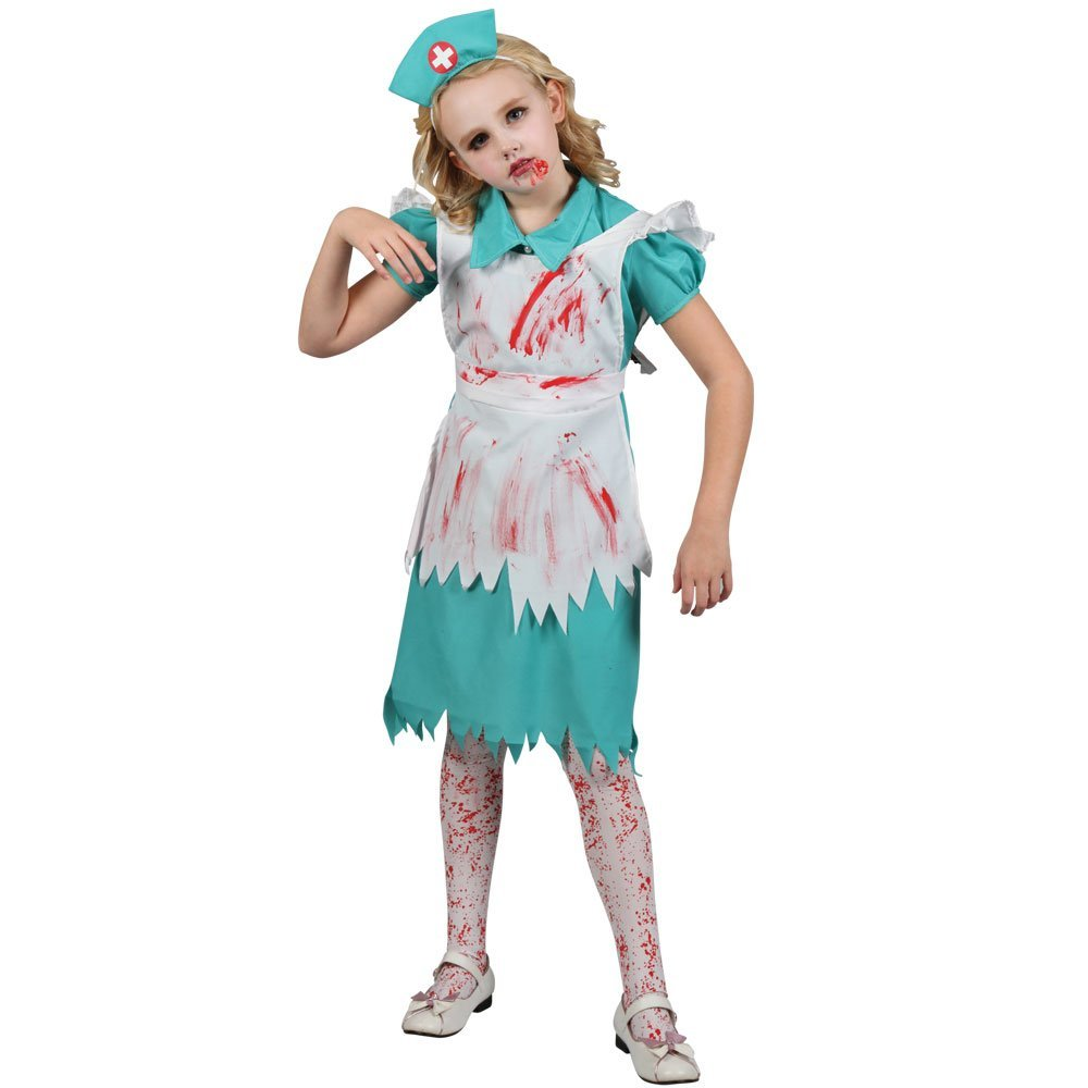 XL) Girls Zombie Nurse Halloween Costume for Fancy Dress