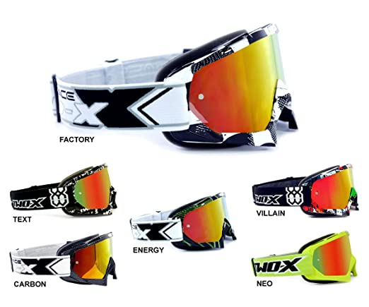 TWO-X Race Crossbrille Enduro Brille Motocross Goggle verspiegelt Solid schwarz