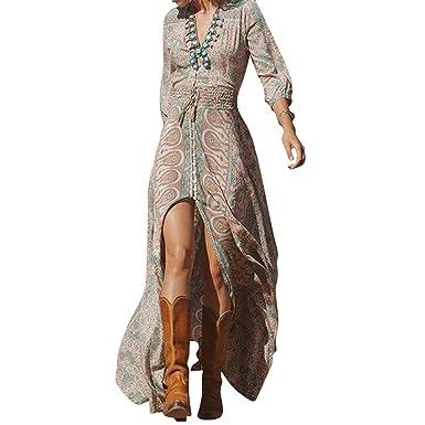 6c9567a189 juqilu Women Dresses Women Summer Dresses V-Neck Beach Dress Floral Print Maxi  Dress Long