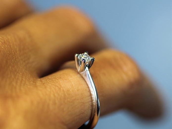 98f0804b75fd ROMA luxury anillo diamante solitario kt. 0.07 Opera Italiana Jewellery   Amazon.es  Joyería