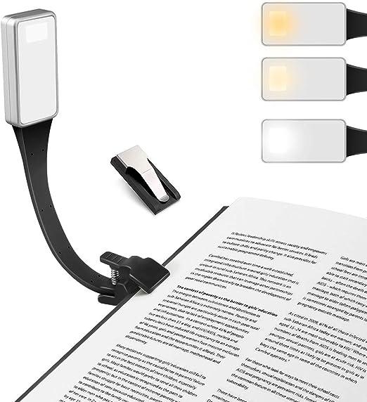 Luz de Lectura, LED Lampara Lectura Libros, USB Recargable, 3 ...