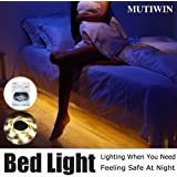 Under Bed Motion Activated Lighting with Pir Sensor, Mutiwin Bed Light Flexible LED Strip Illumination with Automatic Shut Off Timer( Warm Soft Glow)