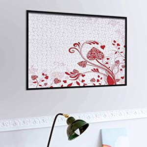 prunushome Red Wooden Puzzle Jigsaw Floral Nature Inspired Frame with Heart Shaped Blooms and Curly Leaves Garden of Romance Game Toys Gift Red White   1,000 Piece