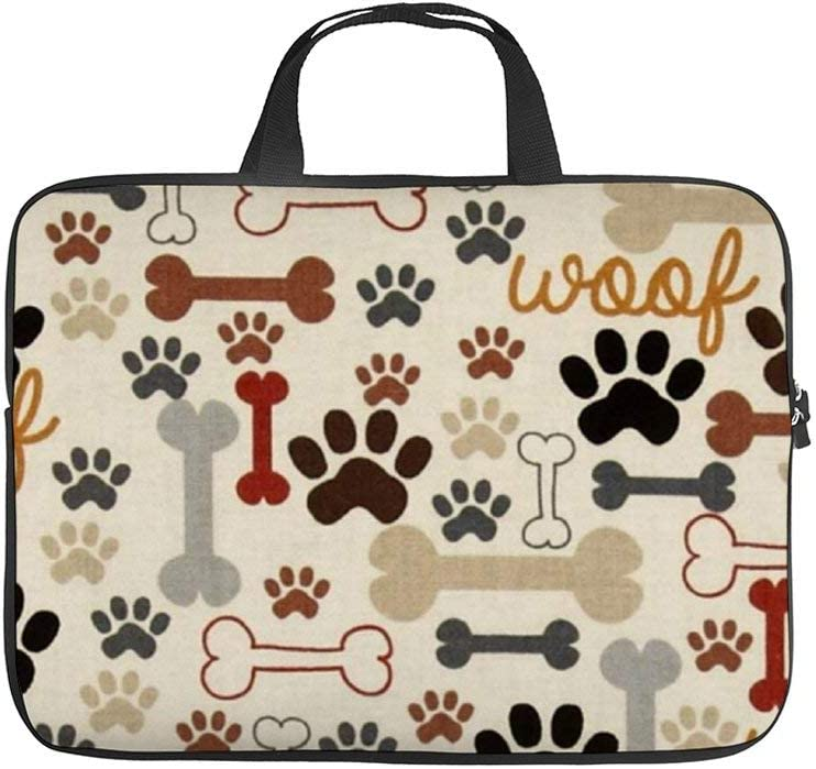 17 Inch Laptop Sleeve Bag for Women Men,Lightweigh Slim Computer Carrying Case Compatible for HP Dell Lenovo Asus Mac Laptops,Notebook and Computer Protective Case, Dog Bones and Paw Prints