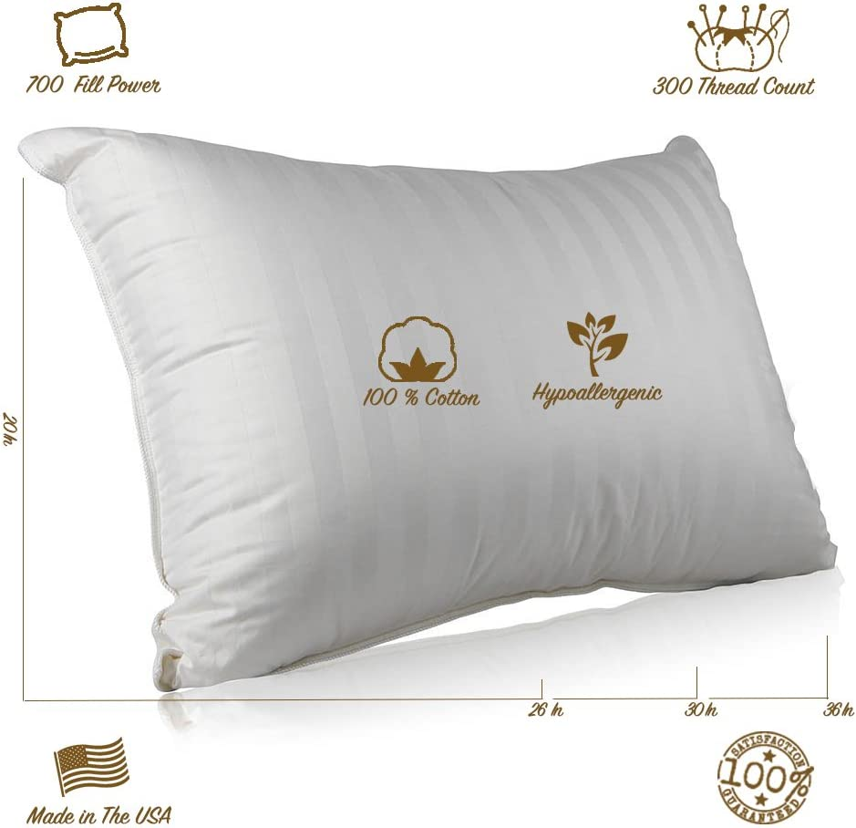 Continental Bedding Superior 100% Down 700 Fill Power Hungarian White Goose Down Pillow (Standard)