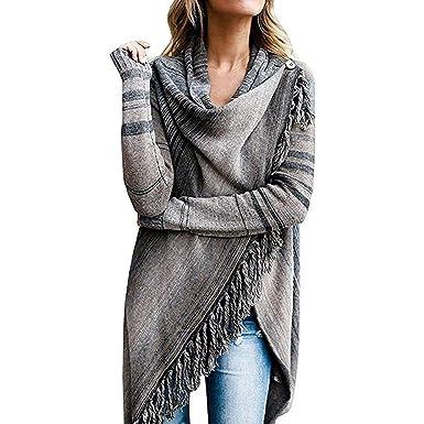 Cape Damen Fashion Lässige Vintage Poncho Herbst Winter Umhang Langarm Quaste Unregelmäßig Mädchen Kleidung Asymmetrisch Dicke Warm Umschlagtuch
