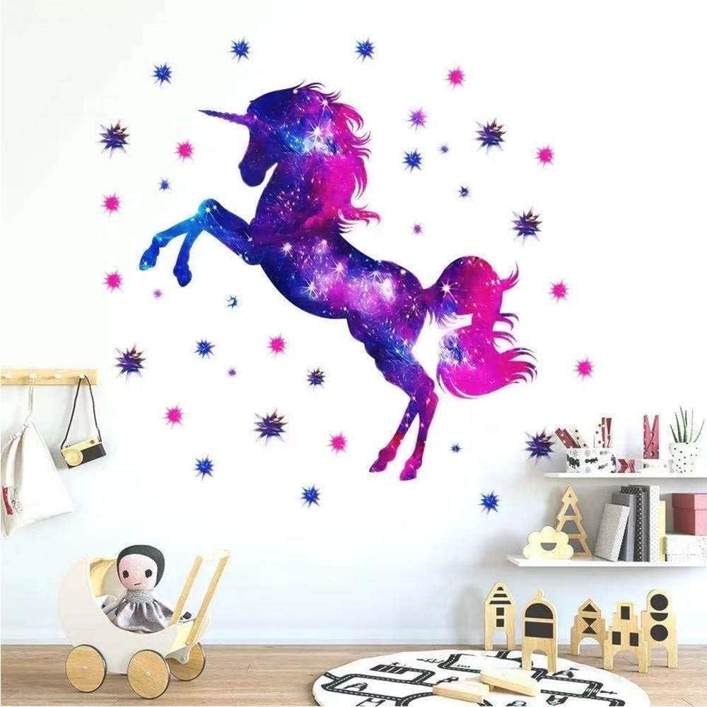Unicorn Wall Decals, Purple Glitter Galaxy Unicorn Wall Decor,Removable Unicorn Wall Decals Stickers Decor Birthday Gifts for Boys Girls Kids Bedroom Decor Nursery Room Home Decor