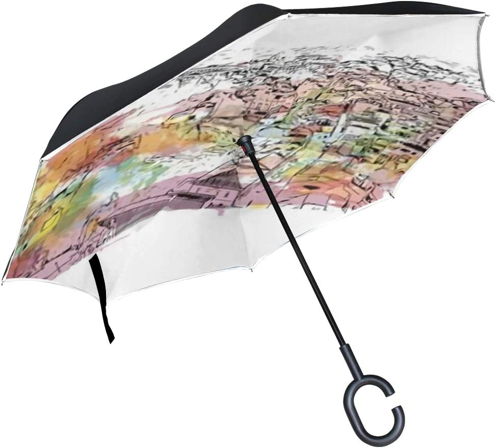 Double Layer Inverted Inverted Umbrella Is Light And Sturdy Building View Landmark Faro Capital Southern Reverse Umbrella And Windproof Umbrella Edge