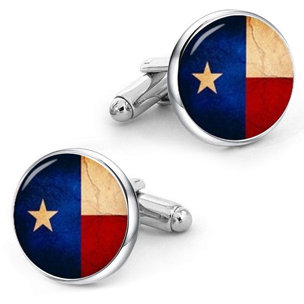 Kooer Vintage Flag of Texas Cufflinks Texas State Flag Custom Personalized Flag Cuff Links Wedding Gifts (Silver Plated)