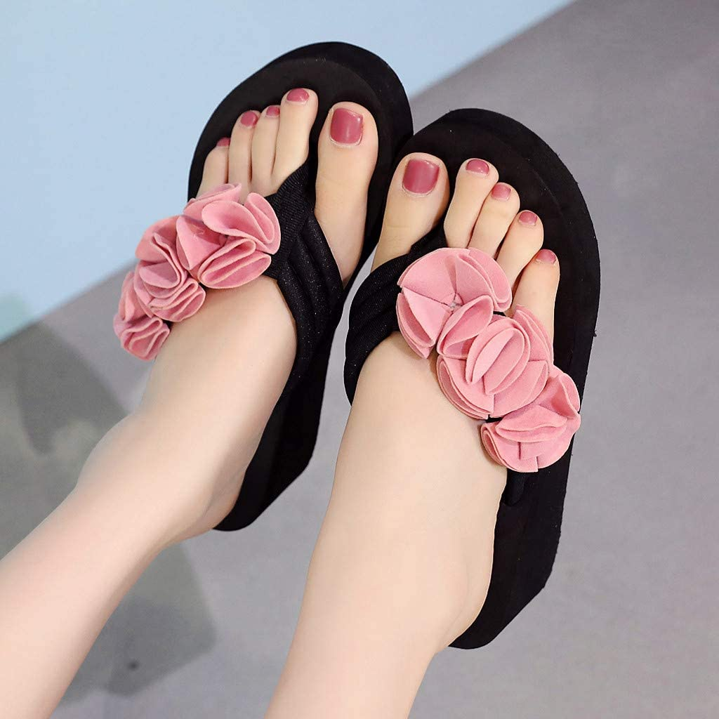 Cimaybeauty Summer Fashion Womens Flower Clip Toe Flip Flops Non-Slip Wedges Beach Slippers