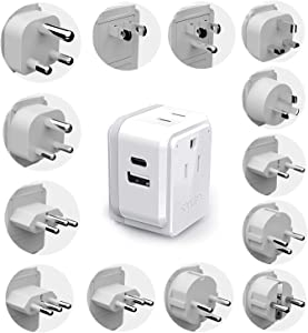 Ceptics International Travel Plug Adapter Set, Safe Dual USB & USB-C 2 USA Socket - Compact & Powerful - Use Europe, Asia, Australia, Africa Anywhere in World - Includes 13 Type SWadAPt Attachments