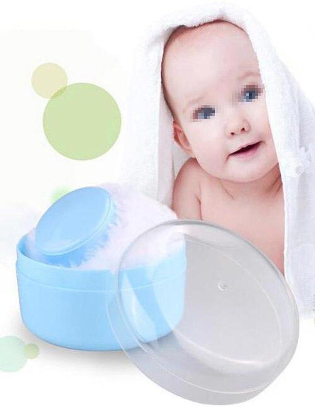 1 PC Baby After-Bath Soft Villus Powder Puff Box Container Empty Box Portable Automatic Powder Storage Baby Powder Cartridge Newborn Cartridge Mini-Blue erioctry