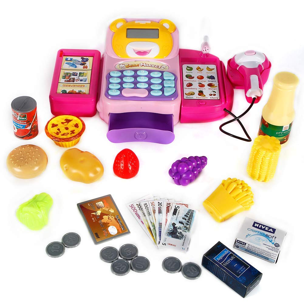 FunsLane Cash Register for Kids Pretend Play Toys with Electronic Sounds, Working Mic, Scanner, Calculator, Food, Play Money and Credit Card Shopping Playset Realistic Actions & Sounds Gift (Pink)