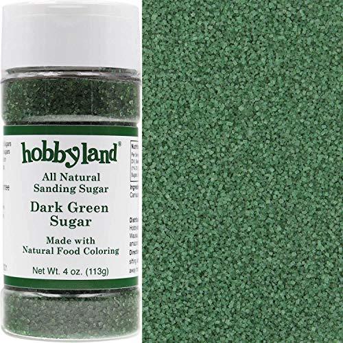 Decorative Sugar Sanding - Hobbyland All Natural Sanding Sugar (Dark Green Sugar, 4 oz) Made with Natural Food Coloring